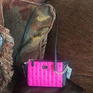 Betsey Johnson Hot Pink Heart Mini Crossbody
